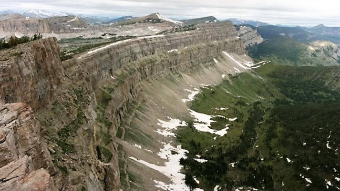 The infamous Chinese Wall of the interior Bob Marshall Wilderness, a favorite destination for pack trip guests – Salmon Forks Outfitters