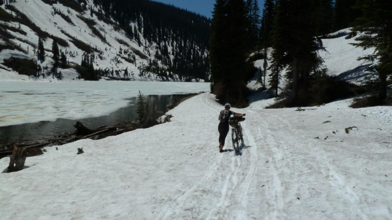 Snow Section Hike A Bike Approaching Red Meadows Pass – Cricket Butler