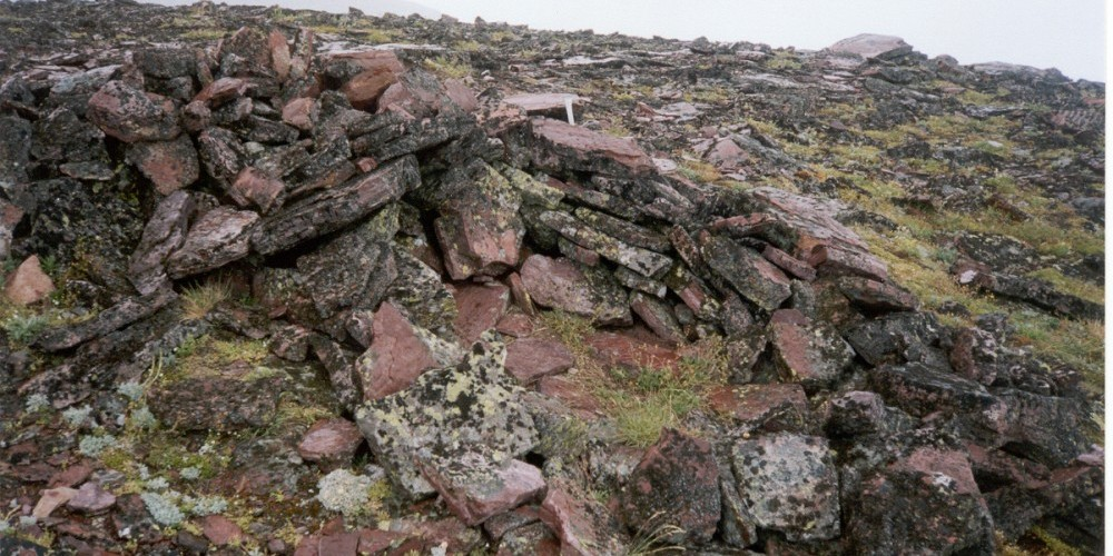 An ancient vision quest site on a mountain ridge in Glacier National Park. If you find such a structure, please don't remove rocks or offerings. Some traditionalists continue to go to the mountains for fasting and visions. – Steve Thompson