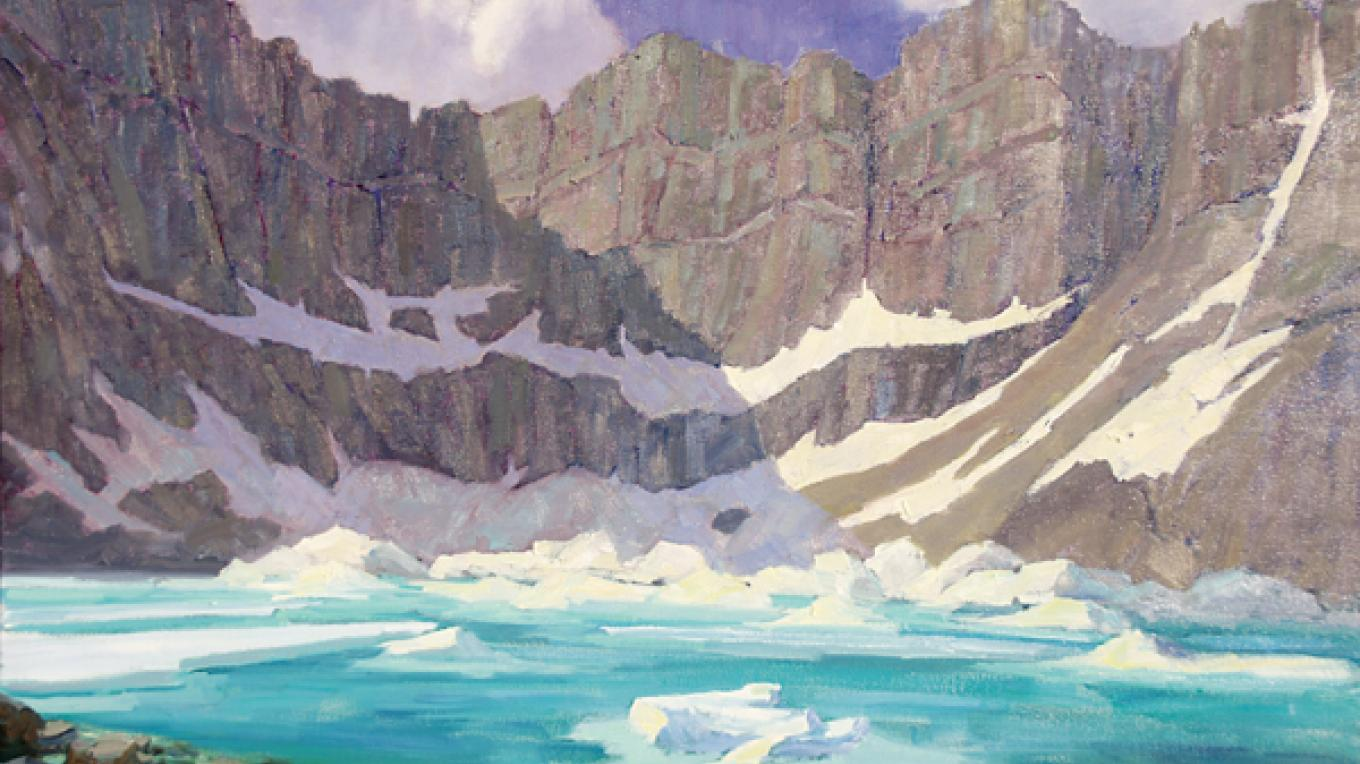 """""""Iceberg Lake"""" by Linda Tippetts (this work is representative and will not appear in 2016 """"A Timeless Legacy""""). – Hockaday Museum of Art"""