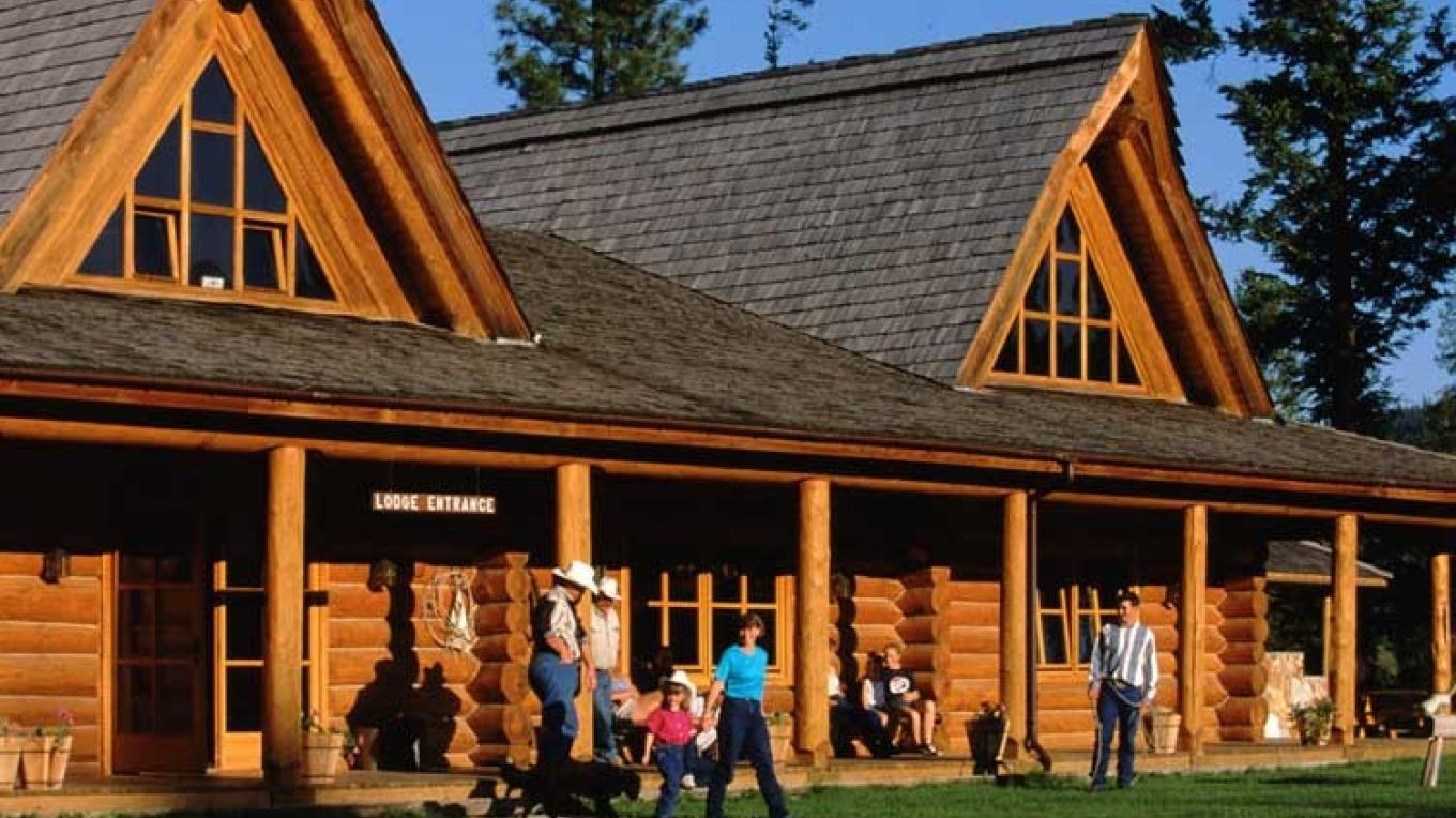 The spectacular log lodge houses the dining room, saloon and recreation lounge. – Don Weixl