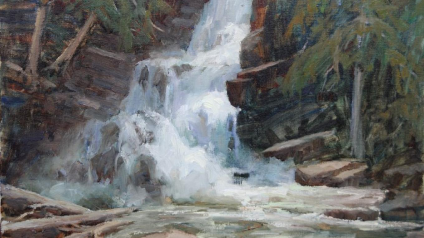 """Falls at Ford Creek"" 18x24  (Better known as Double Falls) – Linda Tippetts"