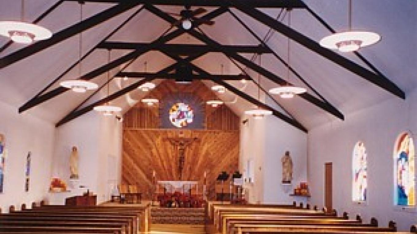 Interior photo of the Little Flower Parish in Browning Montana – Little Flower Parish