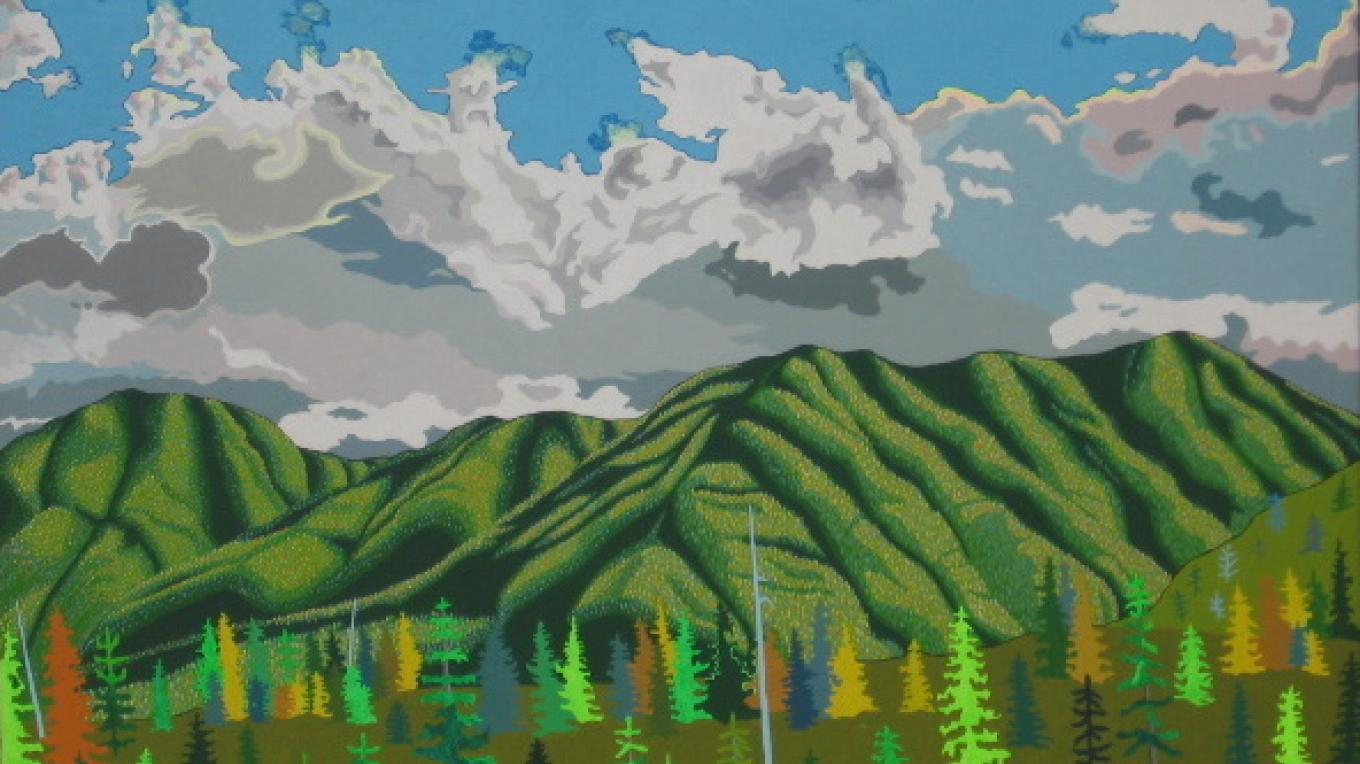 Artist: Peter Moore Title: Whitefish Range – The Walking Man Frame Shop & Gallery