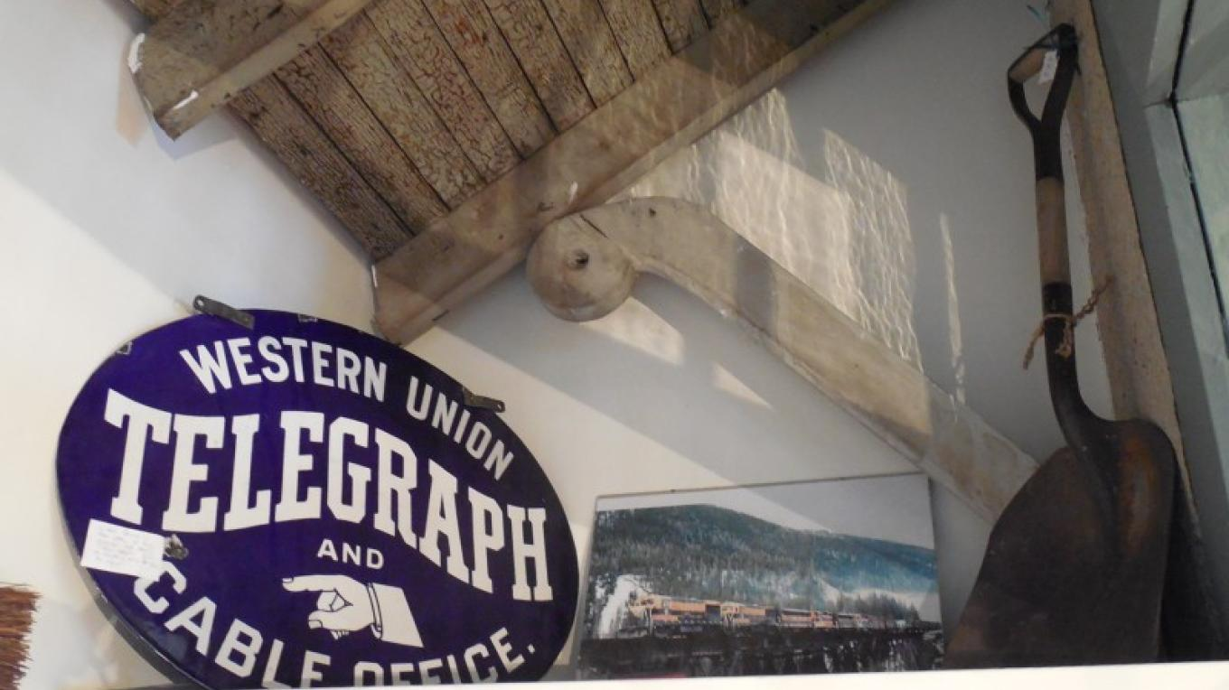 Original signage found in the attic of our historic train station. – Shops at Station 8