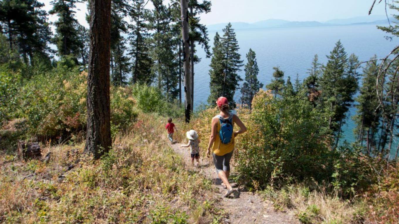 Hiking from Flathead Lake Interpretive Trail's lower parking lot  down to Flathead Lake. – Sheena Pate
