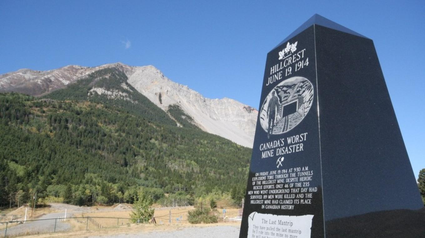 Hillcrest Mine Disaster Monument with Turtle Mountain in background – Courtesy Alberta Culture and Community Spirit
