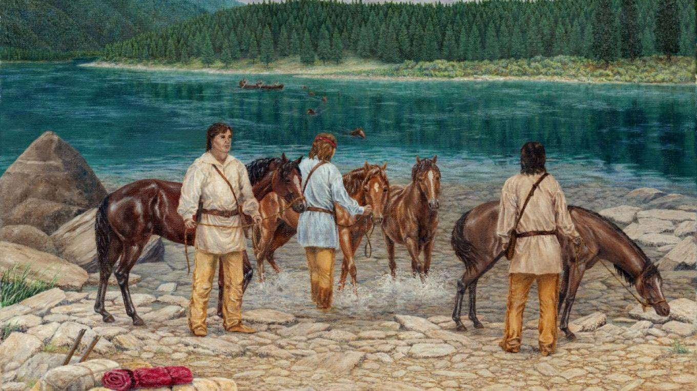 David Thompson Crossing McGillivray\'s River, 1810 (McGillivray\'s River today is known as the Kootenay in Canada and Kootenai in the U.S.) – Painting by Cricket Johnston