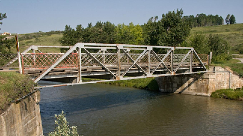 Steel bridge over Crowsnest River northeast of Lundbreck – David Thomas