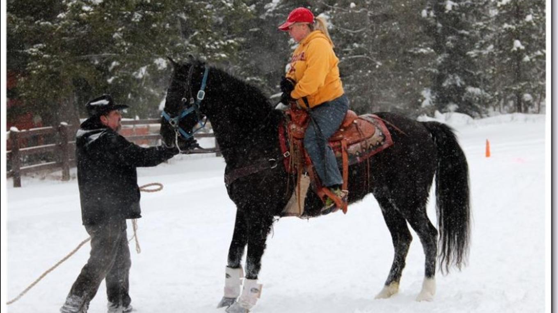 2015 Ski Joring Practice- Scott Ping holding Lynn Hausauer's horse as skier gets ready. – Marguerite Amstadt