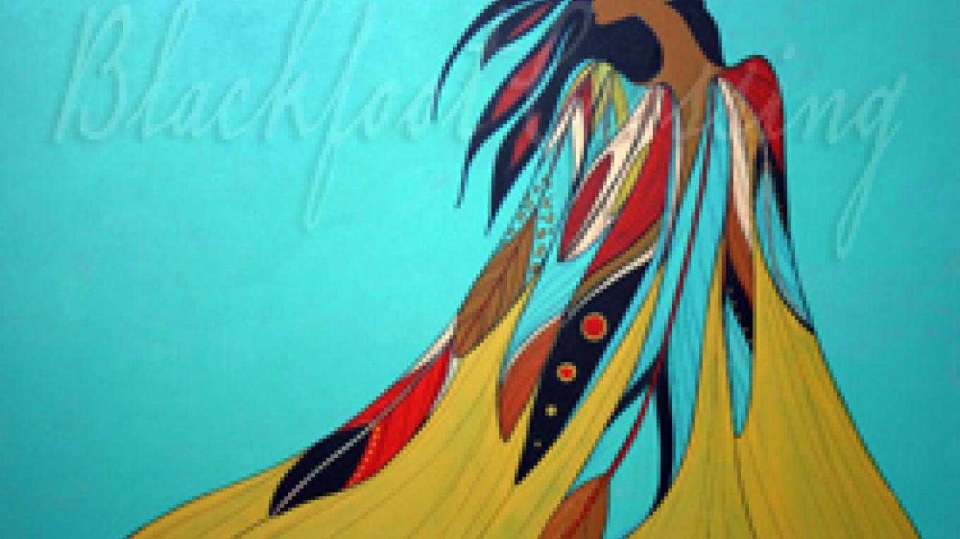 High Plains Woman, artwork by Maxine Noel (Ioyani Mani) is available at the gift shop – Maxine Noel (Ioyani Mani), courtesy Blackfoot Crossing