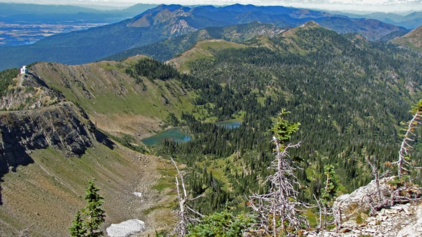 Looking north into the Jewel Basin from Mount Aeneas Summit. Picnic Lakes are nestled below. – Sheena Pate