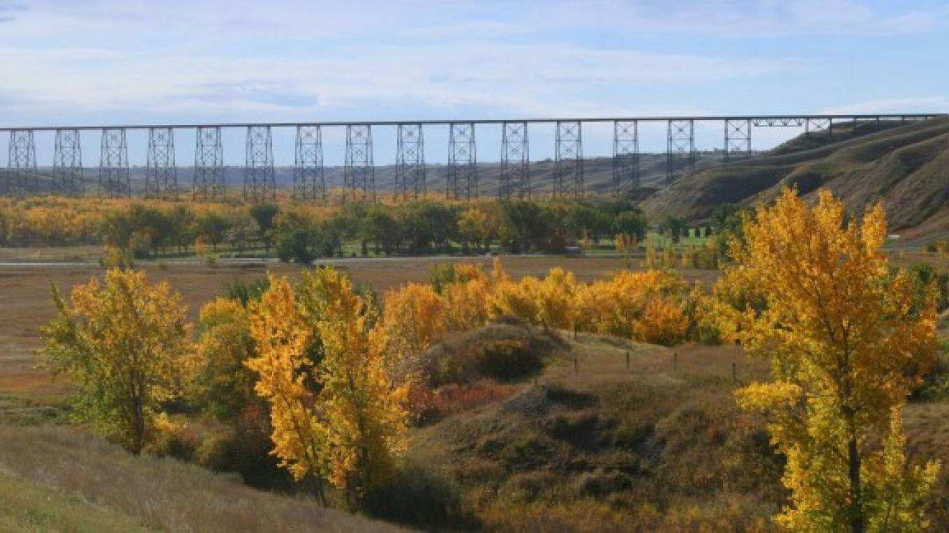 High Level Bridge - in fall, as seen from Highway 3  (north of the bridge) as you enter the city from the West. – G. Wayne Dwornik