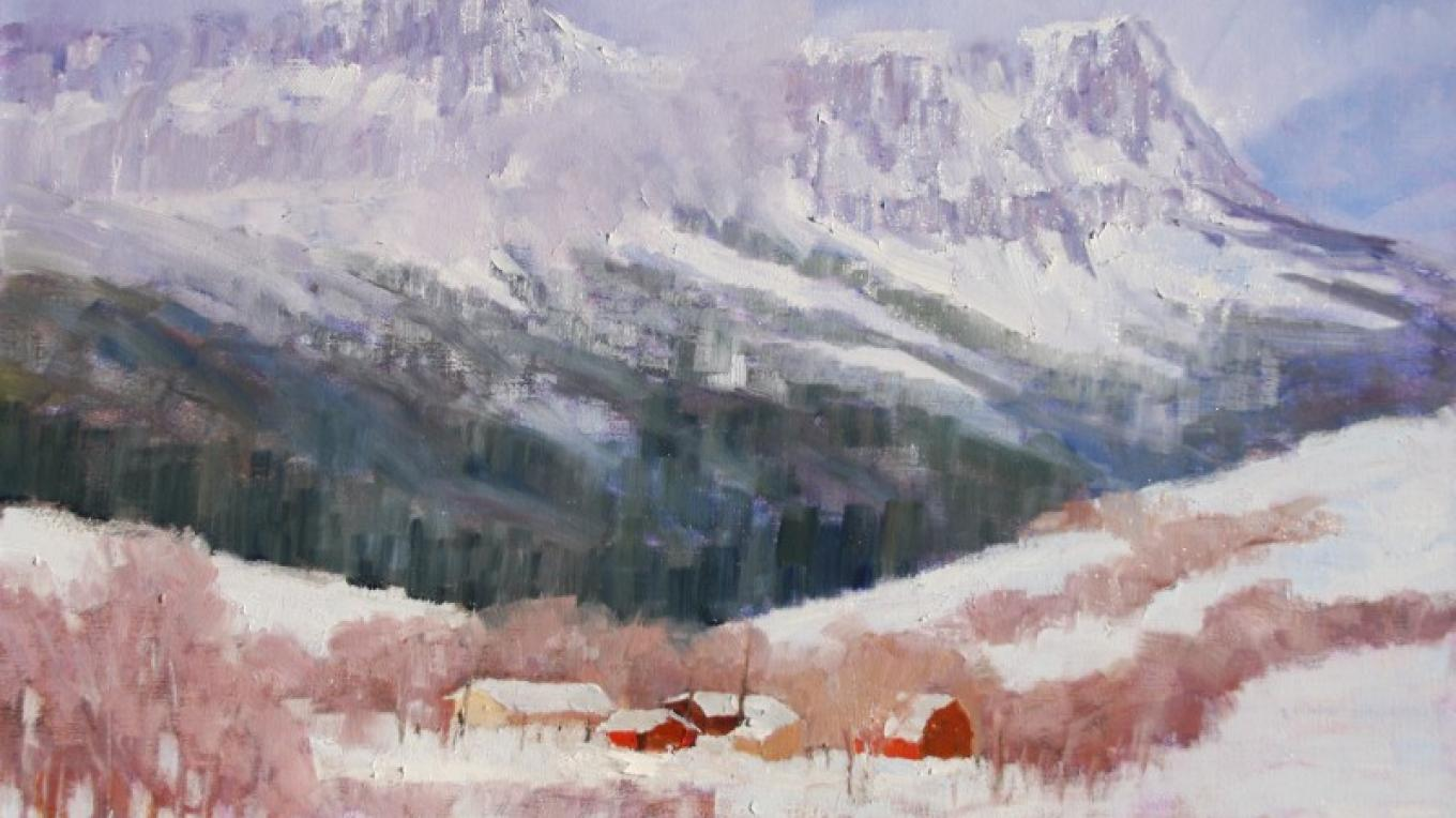 """Hidden Valley Ranch""  20x24  (Below Fairview Mountain on the Rocky Mountain Front west of Augusta) – Linda Tippetts"