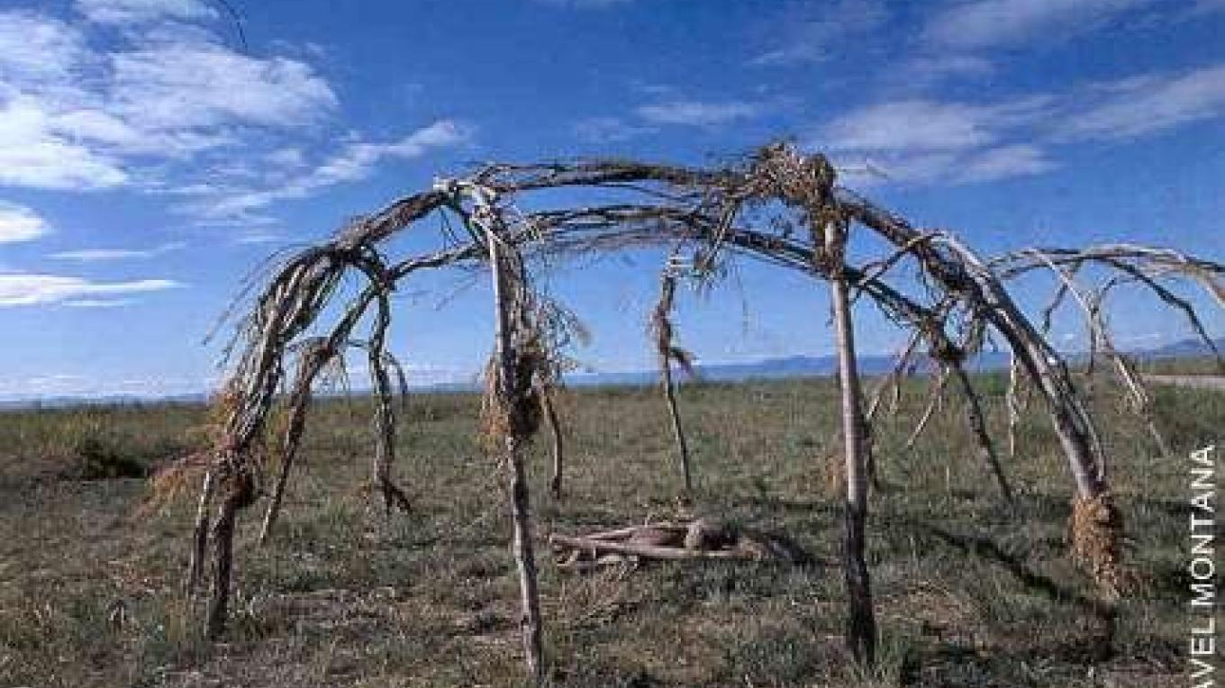 A traditional sweat frame at First Peoples Buffalo Jump State Park – Courtesy MT FWP