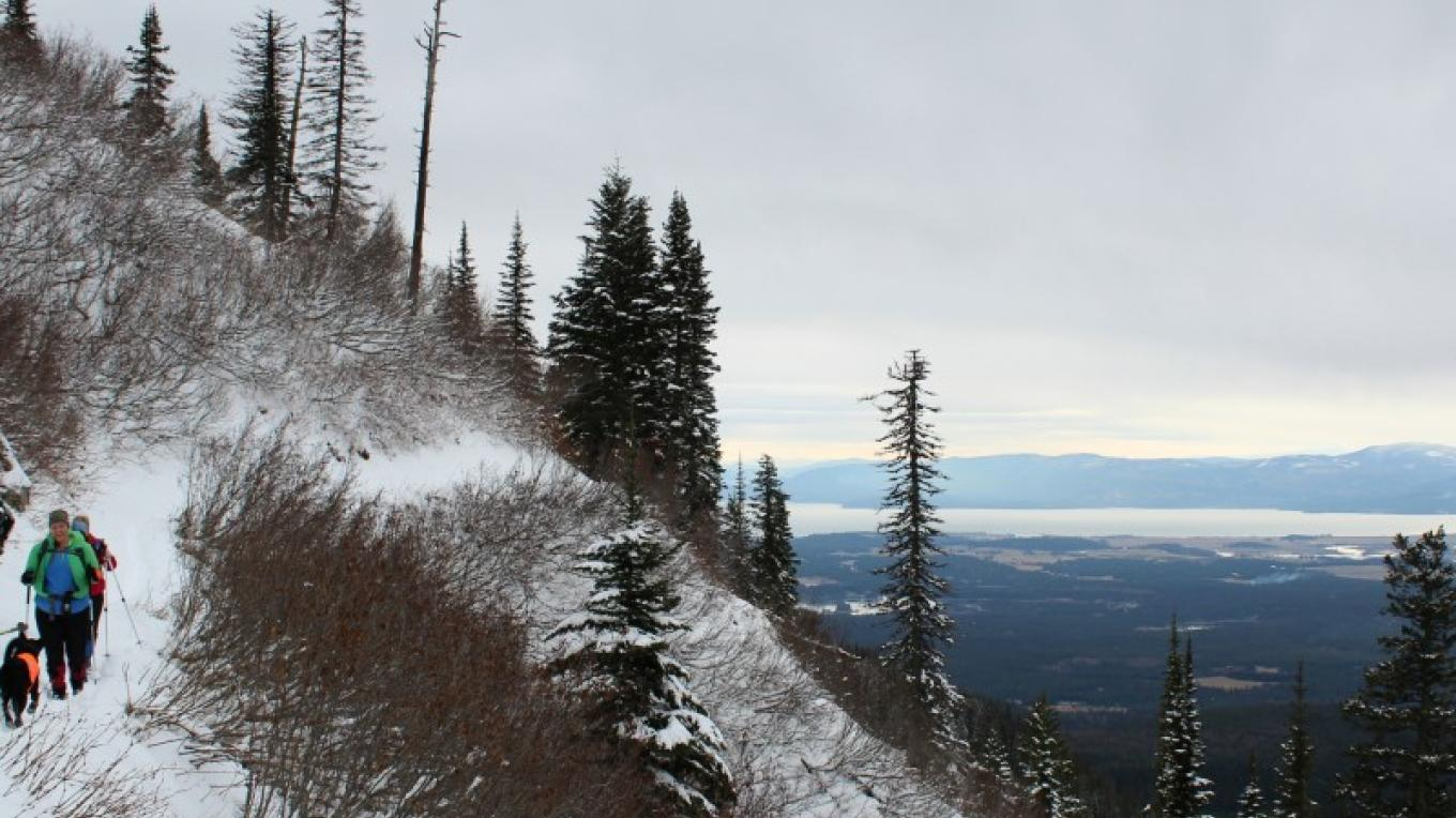 Just before reaching Strawberry Lake the trail views open up to the Flathead Valley below. – Sheena Pate