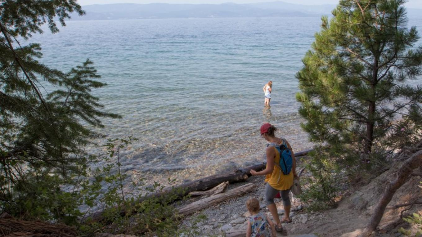 Secluded swimming beach access from Flathead Lake Interpretive Trail. – Sheena Pate