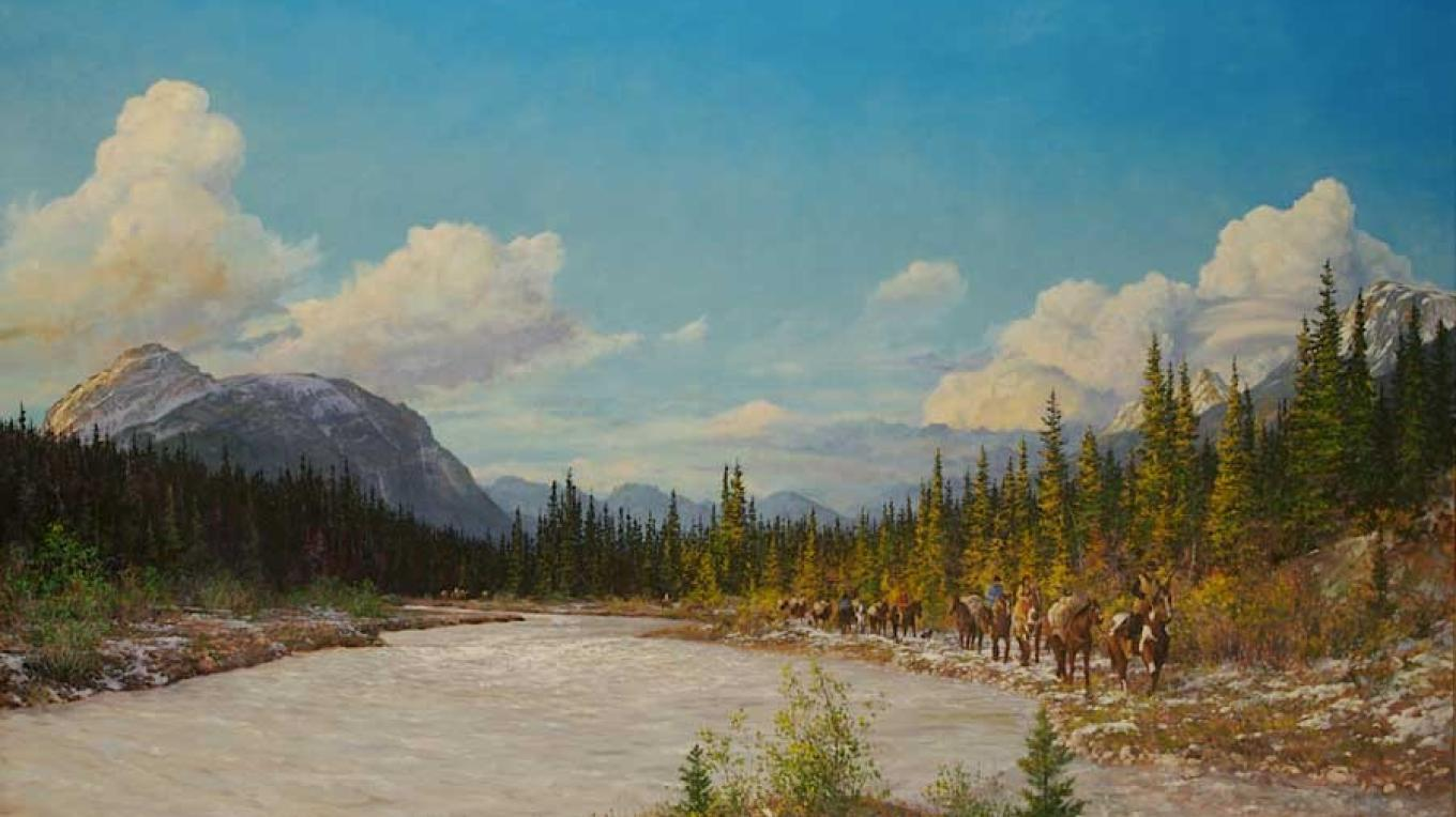 Thompson and his entourage heading towards the Continental Divide. – Joseph Cross