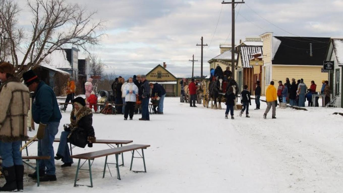 Winter activities include horse-drawn sleigh rides and ice skating outdoors. – Courtesy Fort Steele Heritage