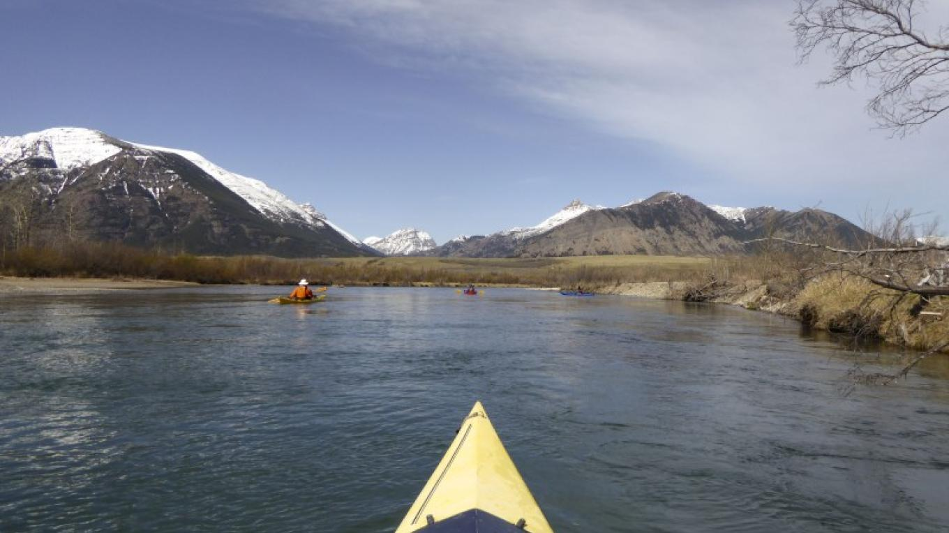 Kayaks on river between Middle and Lower Waterton Lake – Courtesy Parks Canada