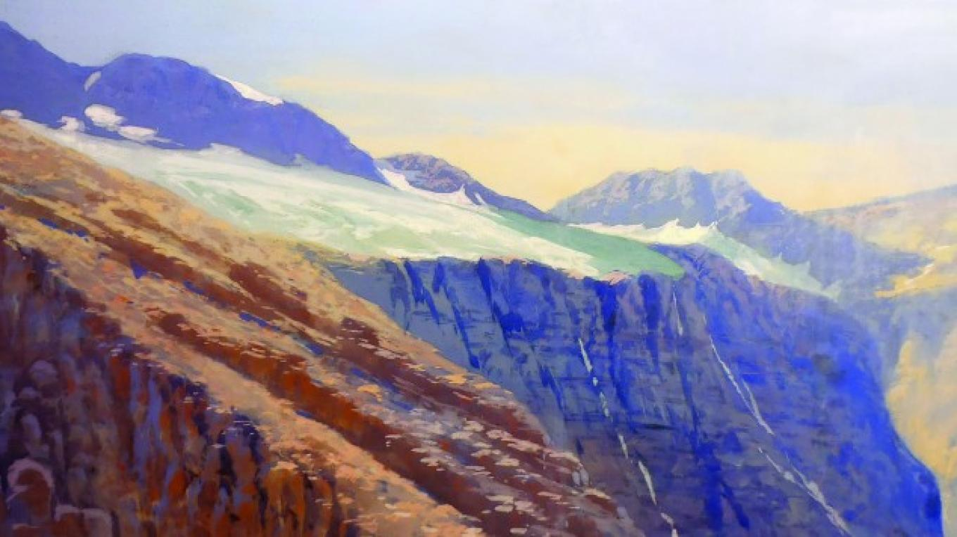 "Glaciers in the High Country 51"" x 108"" Artist unknown Tempera on Canvas Restoration by Joe Abbrescia, Jr. (installed January 12, 2016 at the O'Shaughnessy Center in Whitefish, MT) – Hockaday Museum of Art"