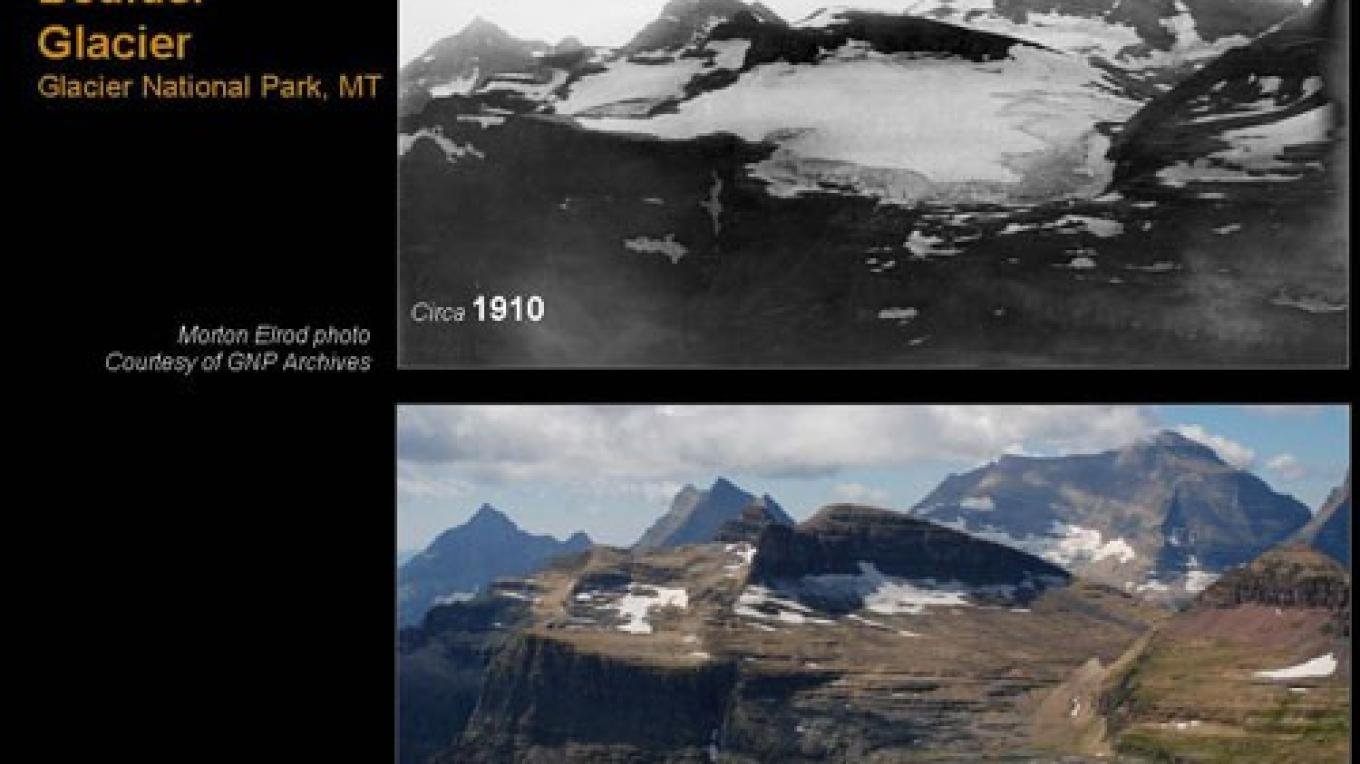 Disappearing glacier: Boulder Glacier in Glacier National Park, repeat photography, 1910 and 2007 – Morton Elrod and Dan Fagre