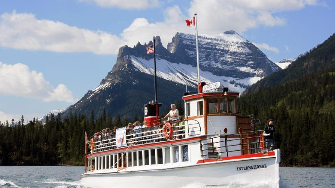 The M.V. International tours both sides of the border on Waterton Lake