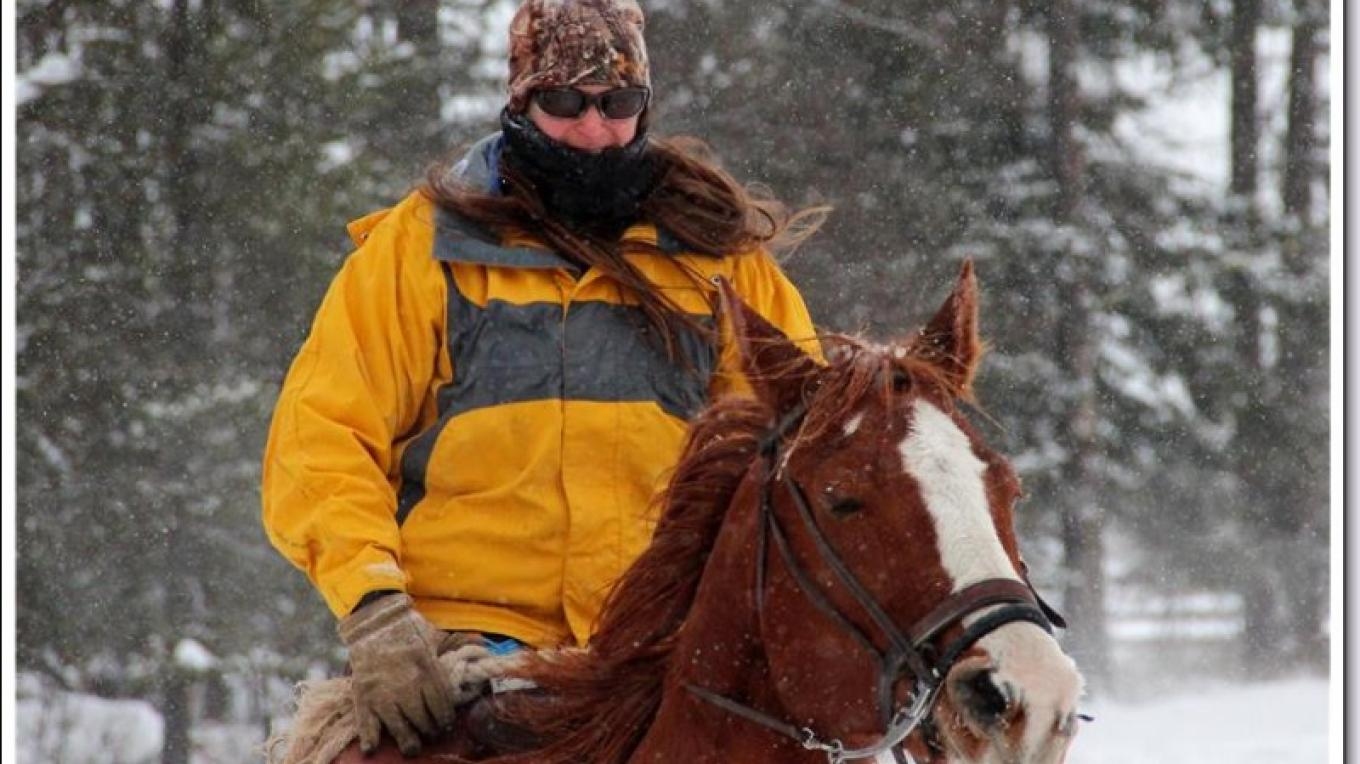 2015 Ski Joring Practice- Leah Mitchell on her Posse horse. – Marguerite Amstadt