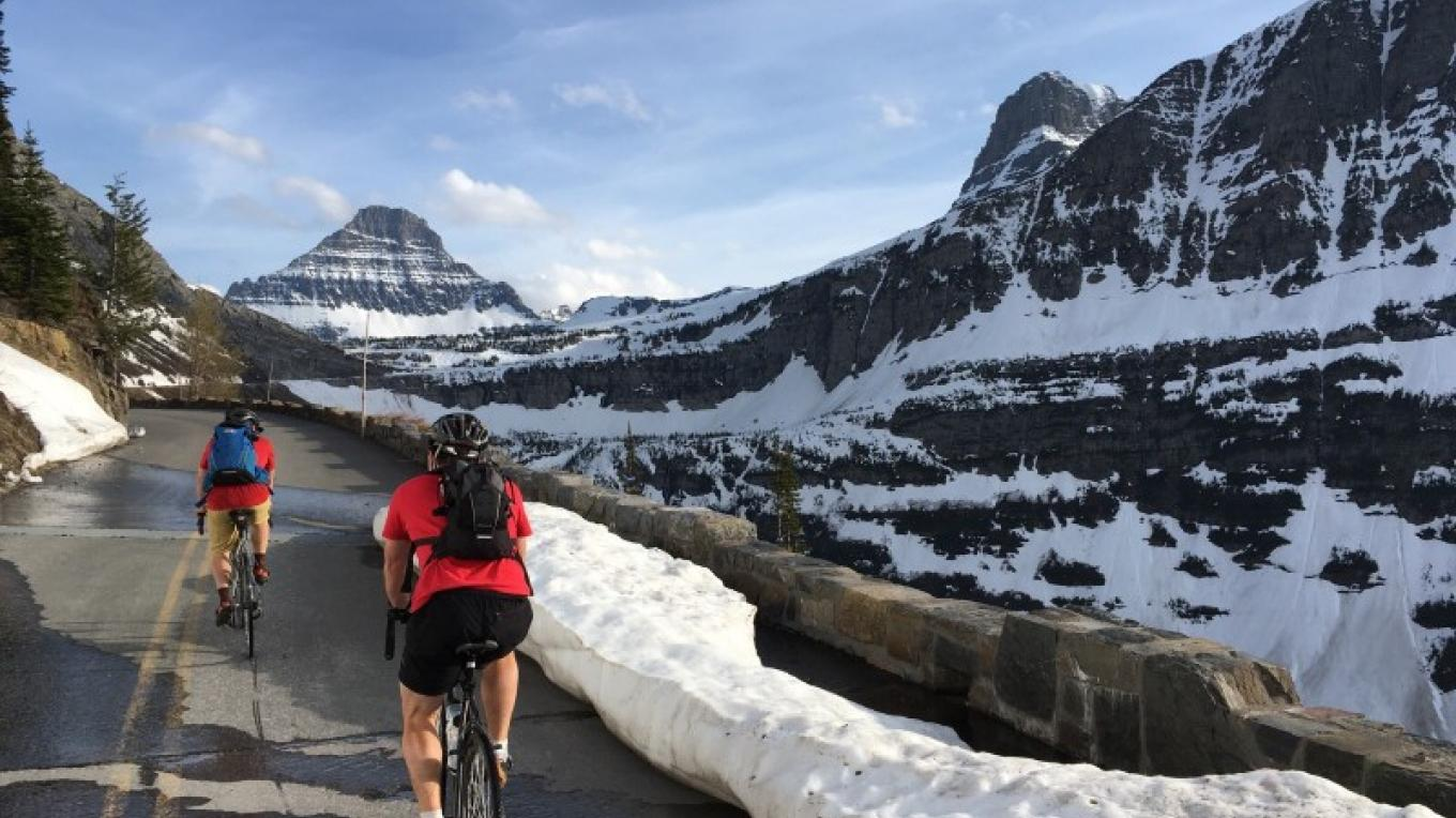 Biking the Going to the Sun Road, before it is open to vehicles in the spring, is definitely a bucket list experience.