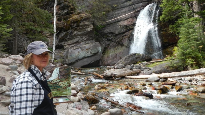 Painting Baranoff Falls, Glacier National Park – Linda Tippetts