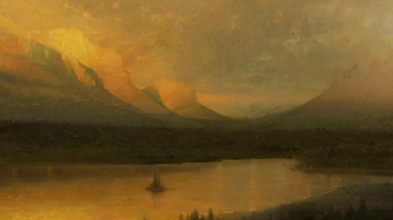 """""""Sunrise at St. Mary"""" by Rachel Warner (this work is representative and will not appear in 2016 """"A Timeless Legacy""""). – Hockaday Museum of Art"""