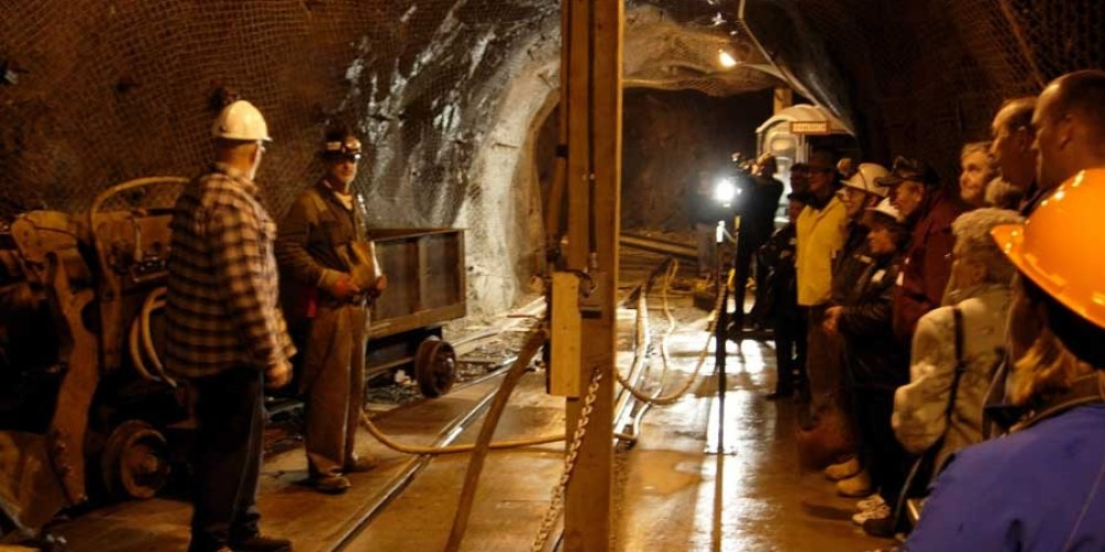 Board the mining train, travel through the Mark Creek Valley and on to the underground interpretive area. – Chris Andrews