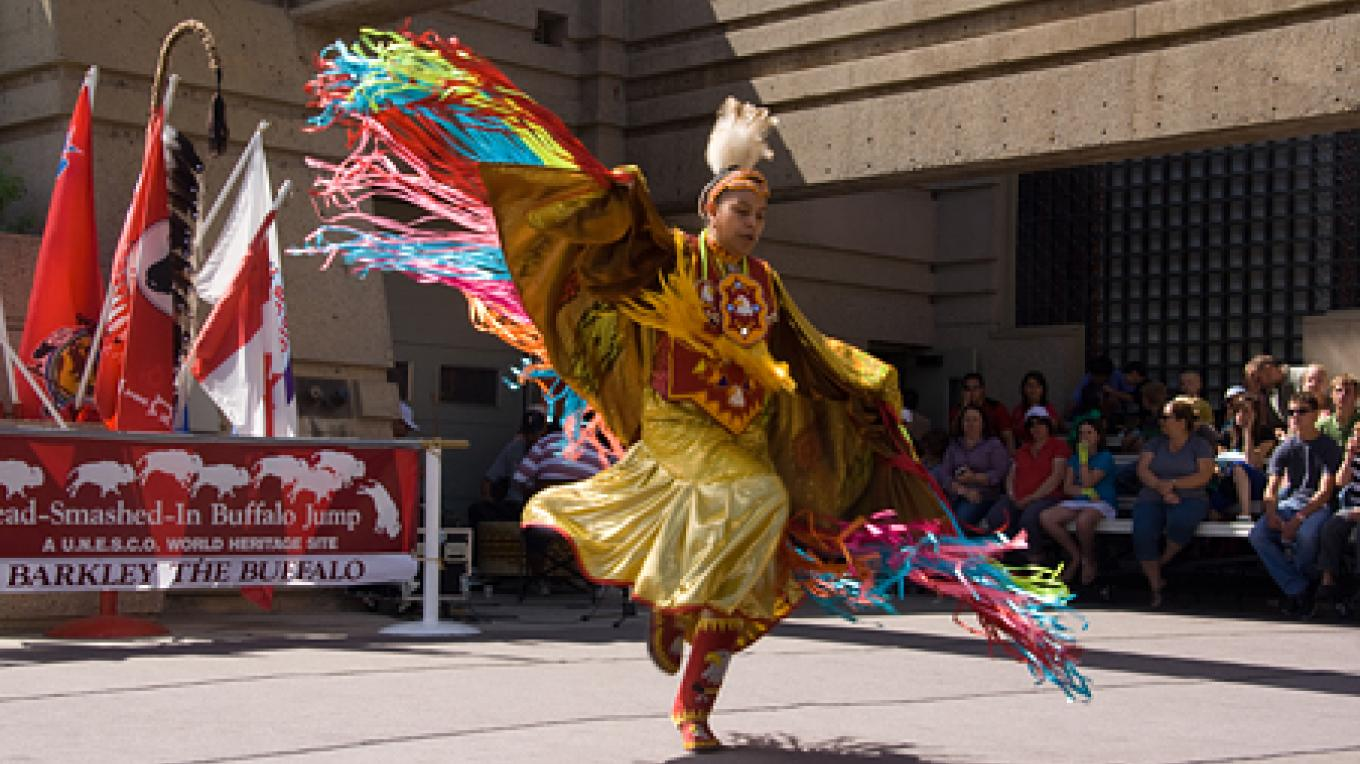 Contemporary native dance integrates modern materials with traditional dress. – David Thomas