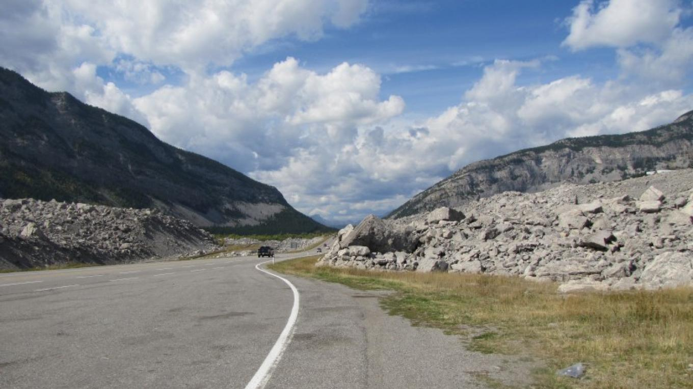 Driving through the Frank Slide on HWY 3. – Sheena Pate