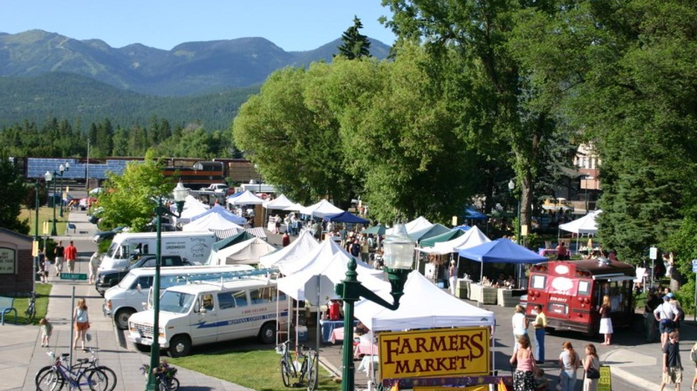 Whitefish downtown Farmer\'s Market hosts local farmer\'s, artists and also live music every Tuesday during summer months. – John Frandsen
