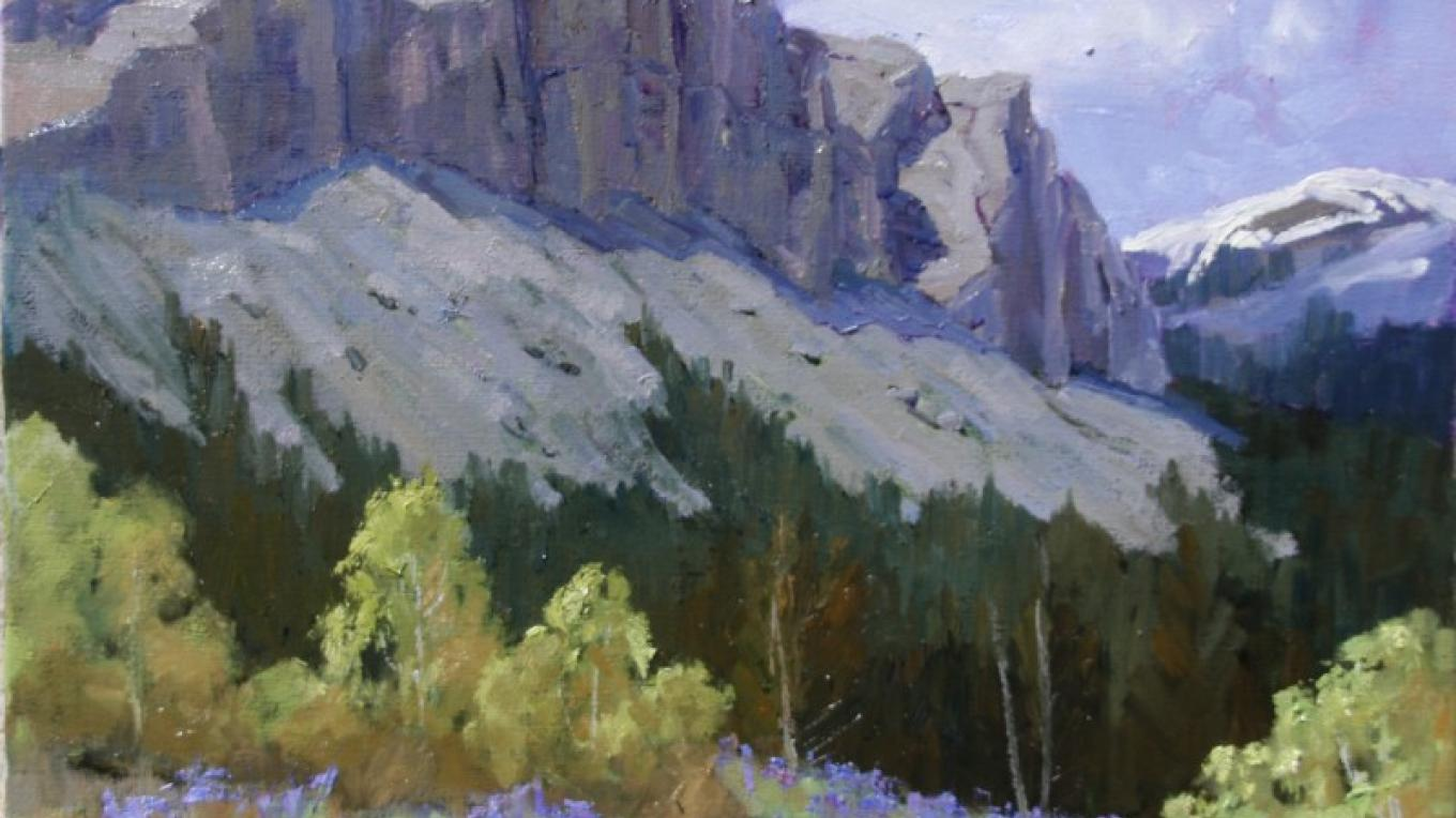 """Cliffs at Willow Creek Gorge - Spring"", 20x24 – Linda Tippetts"
