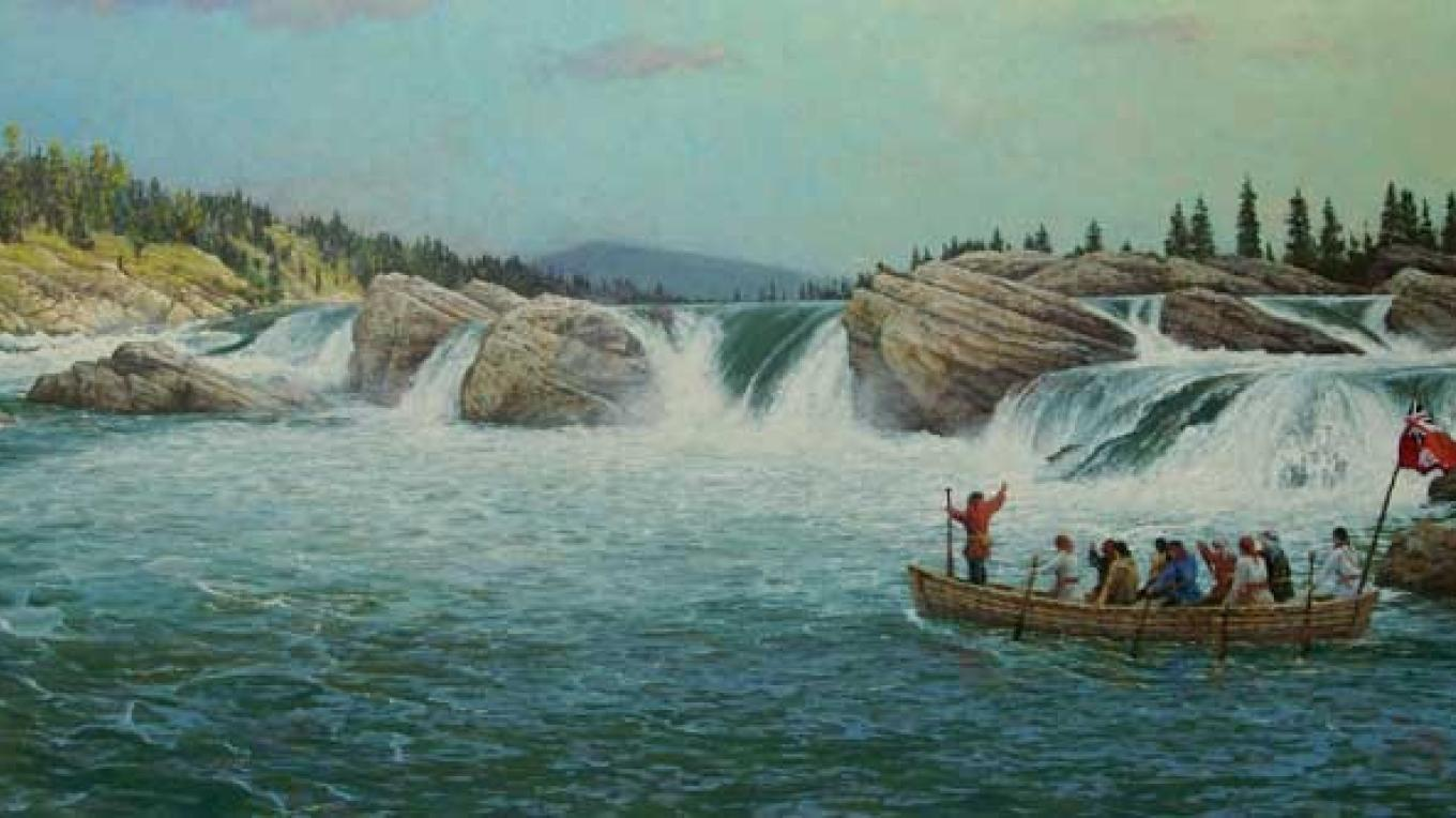 David and his companions departing Kettle Falls to reach the mouth of the Columbia. – Joseph Cross
