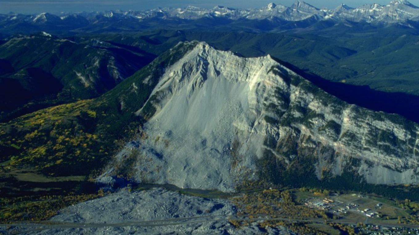 Turtle Mountain and the Frank Slide – Courtesy Frank Slide Interpretive Centre