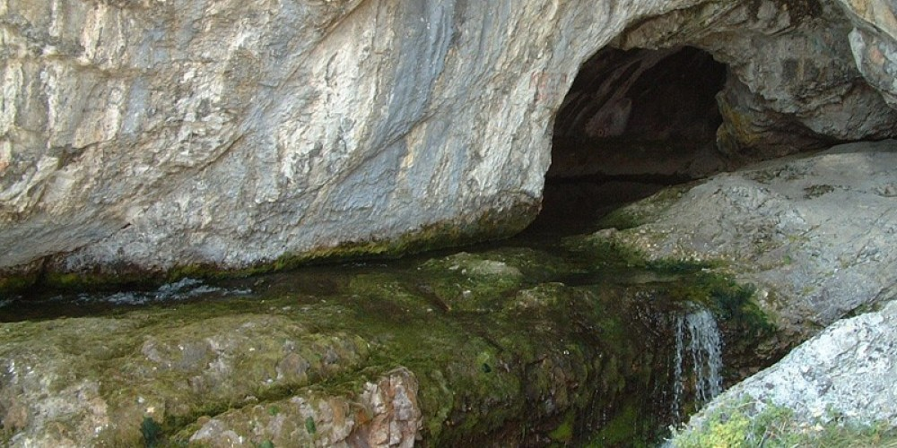 Water flows from the pool inside Basin Cave along a limestone ledge, which forms a natural aqueduct. – David Thomas