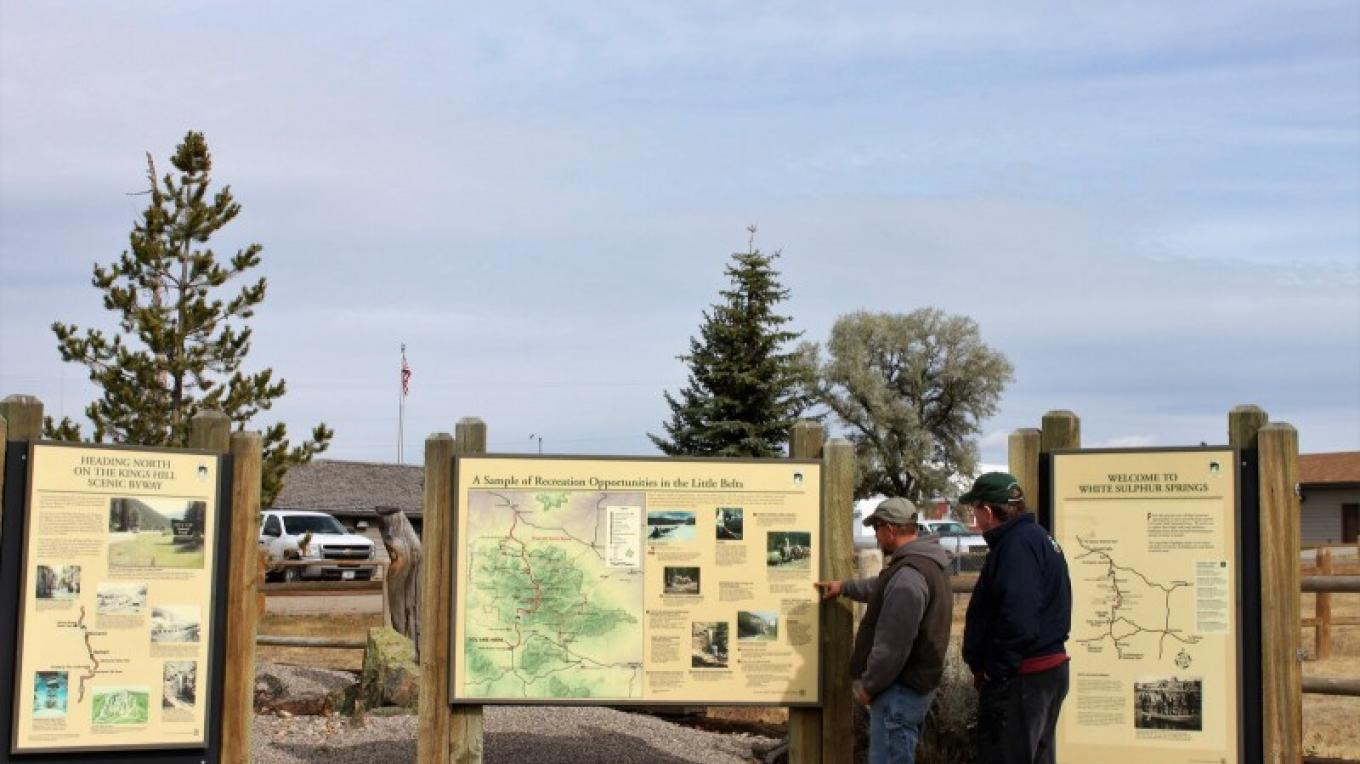 Interpretive panels near Forest Service office. – Central Montana