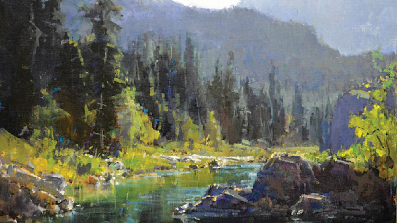 """""""Morning on the River"""" by Kathryn Stats (this work is representative and will not appear in 2016 """"A Timeless Legacy""""). – Hockaday Museum of Art"""