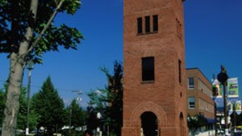 Cranbrook's historic red brick downtown clock tower. – Don Weixl