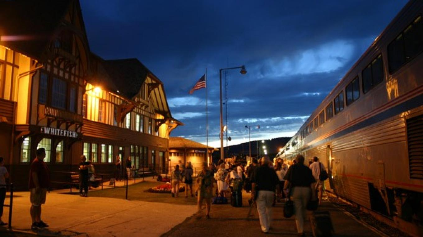 The Empire Builder stops at the historical Whitefish Train Depot. – Brian Schott