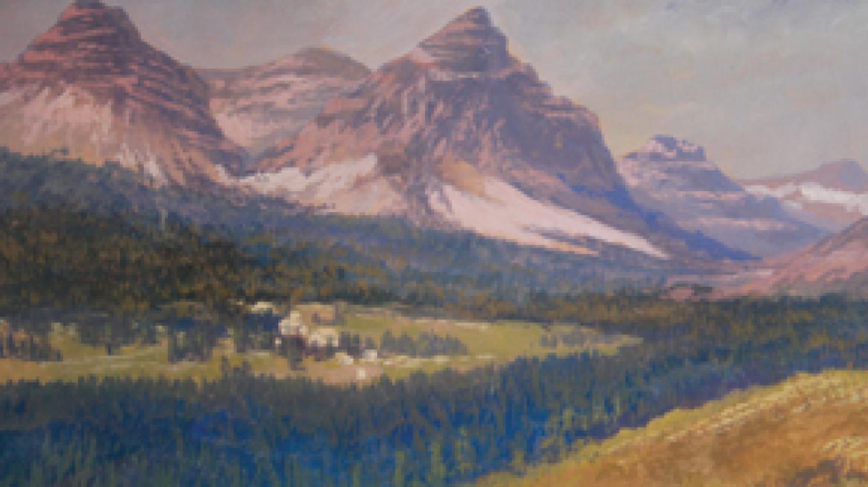"Mountain Village 51"" x 93"" Artist unknown Tempera on Canvas Restoration by Joe Abbrescia, Jr. – Hockaday Museum of Art"