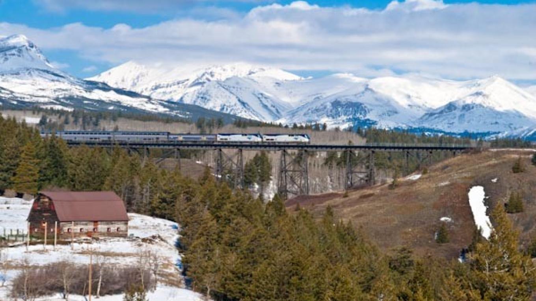 Empire Builder, Chicago bound over the Two Medicine Bridge, East Glacier Park, Montana – tonybynum.com