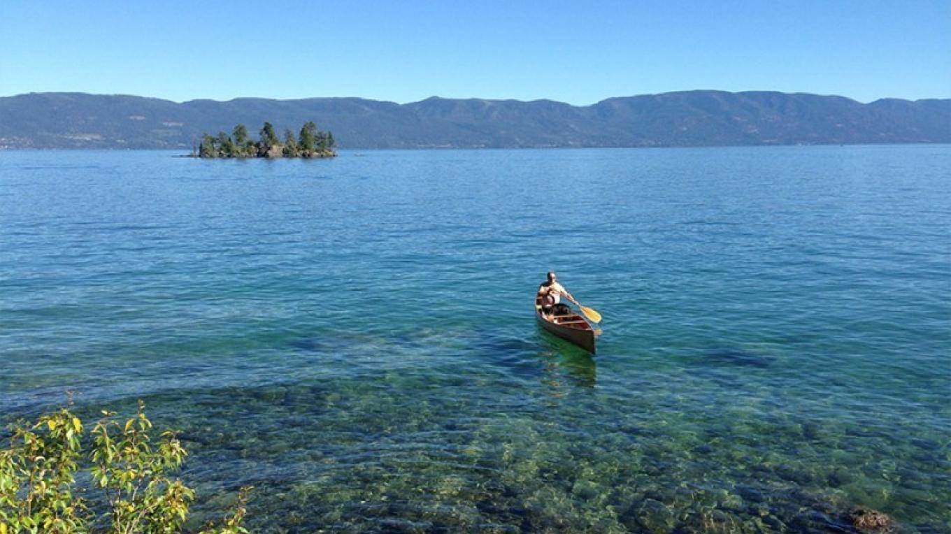 Canoeing near West Shore State Park, one of the many stopovers on the Flathead Lake Marine Trail.