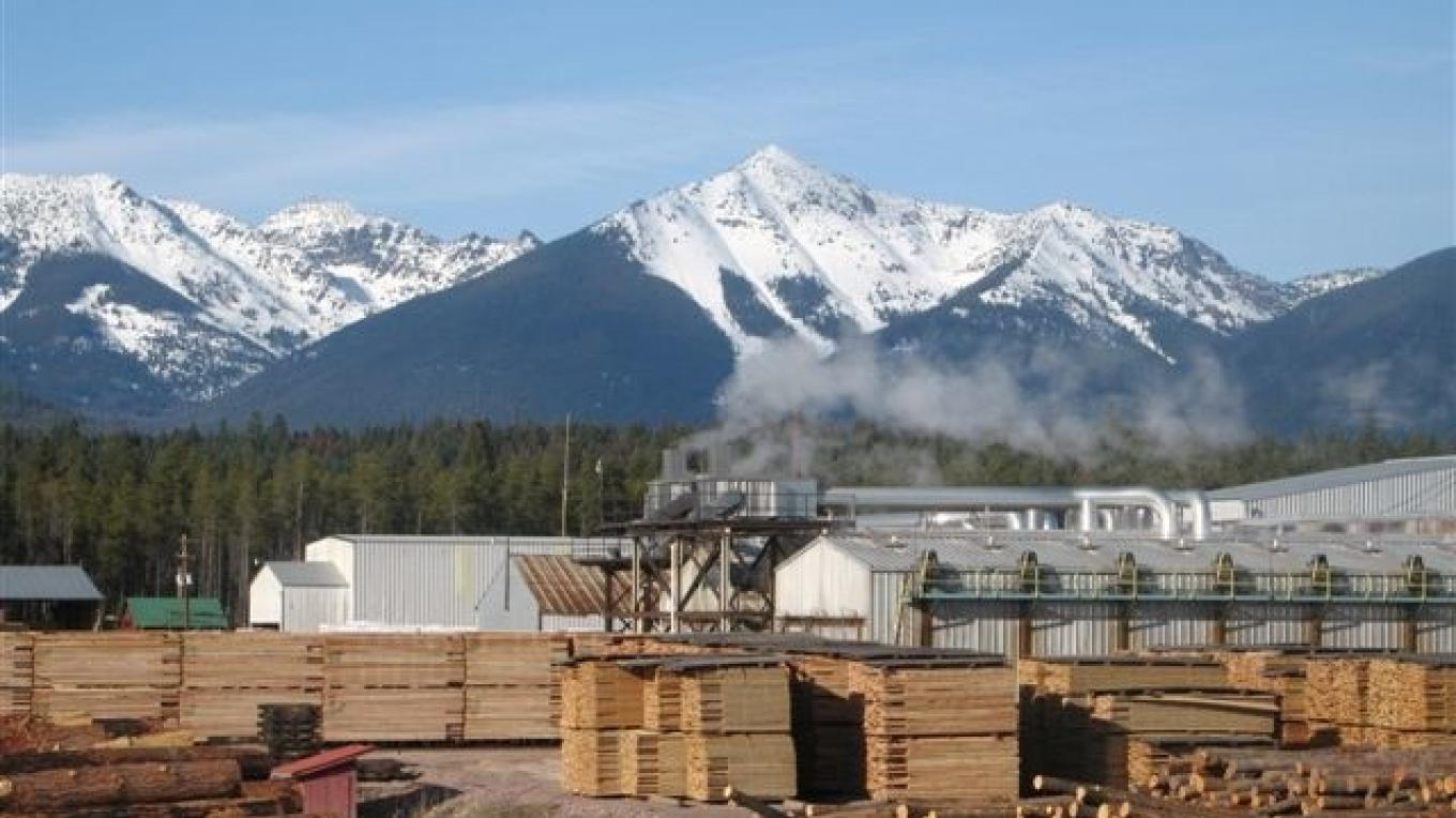 Pyramid Mountain Lumber mill with namesake in background – Ron Cox