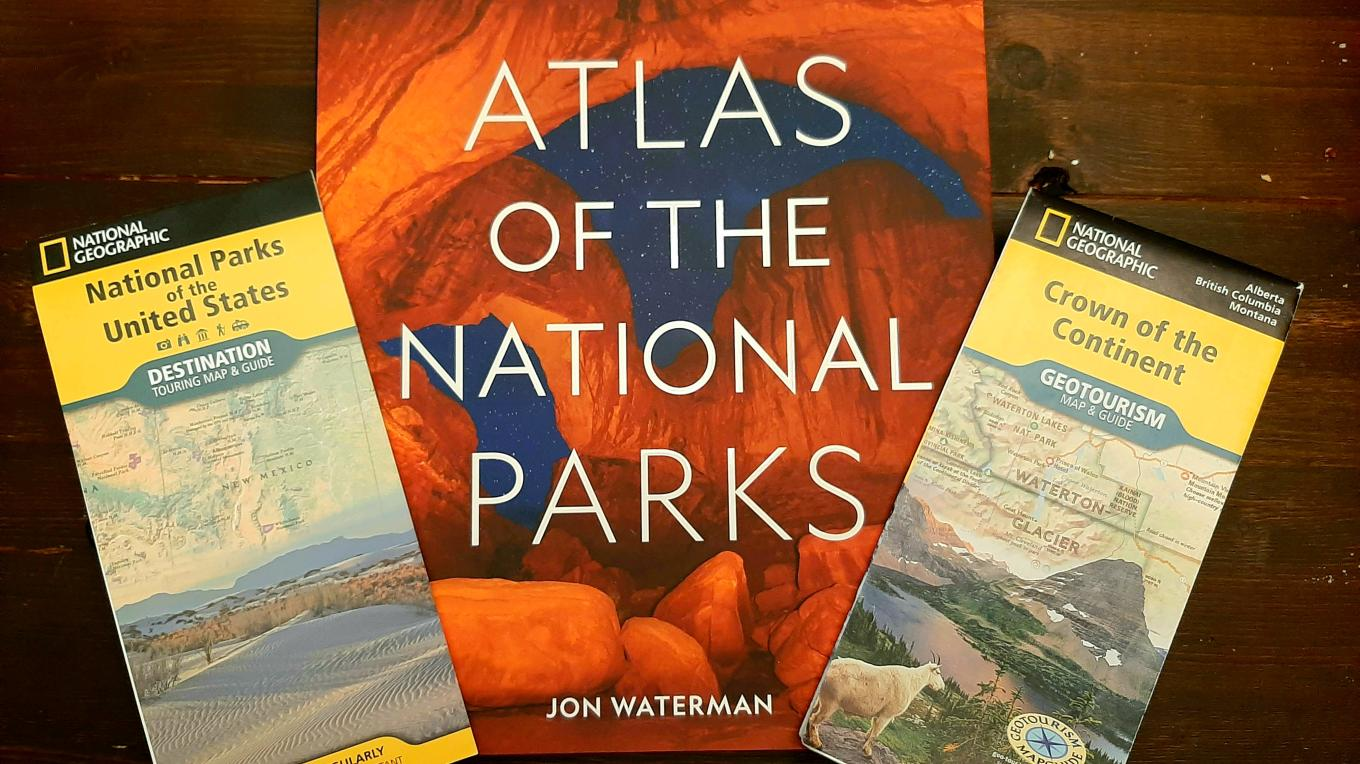 National Parks Giveaway Package: National Geographic Crown of the Continent Geotourism Map & Guide, National Geographic Atlas of the National Parks by Jon Waterman and National Geographic National Parks of the United States Destination Touring Map & Guide