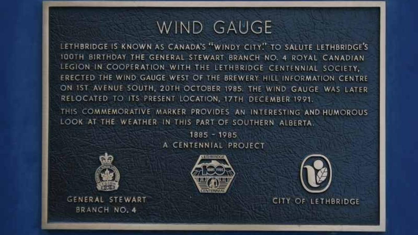 "Yes, Lethbridge is often called the ""Windy City"", so for its Centennial in 1985 they erected this Wind Gauge....with tongue in cheek. – gwd   G. Wayne Dwornik"
