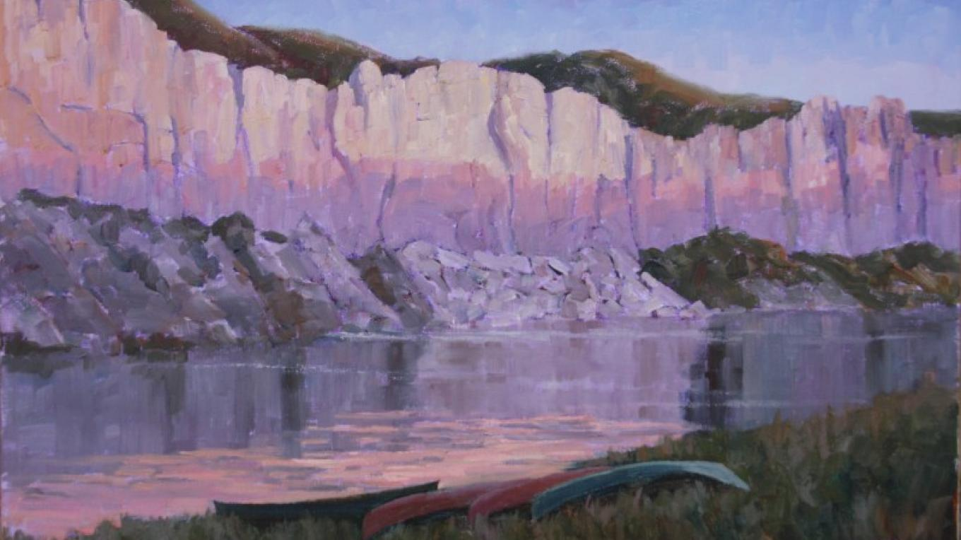 """Daybreak on the Missouri""  Famous White Cliffs at Dawn – Linda Tippetts"